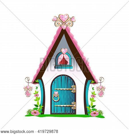 Fairy Tale Little House With A Pink Roof And Hearts Made Of Precious Stones. Fairy Tale Background V