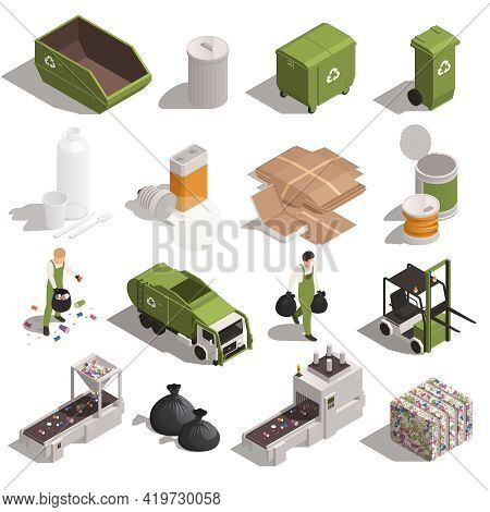 Garbage Recycling Color Set Of Pressed Waste Container Tank Truck Conveyor Isometric Icons Isolated