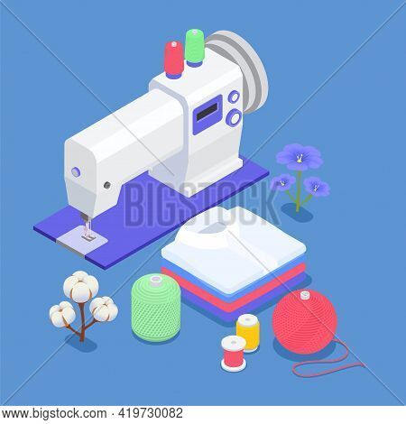 Textile Mill Isometric Background Sewing Machine Cotton And Flax Flowers Coils Of Thread Balls Of Wo