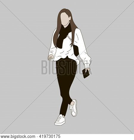 Vector Illustration Of Kpop Street Fashion. Street Idols Of Koreans. K Pop Female Fashion Idol. A Gi
