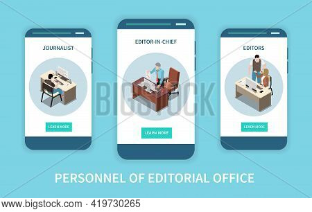 Personnel Of Editorial Office With Journalist And Editor Characters Isometric Vertical Banners Isola