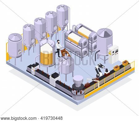 Brewery Beer Production Isometric Composition With View Of Industrual Facilities Automated Line With