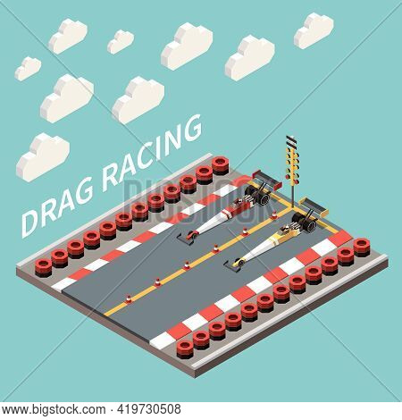Car Race Isometric Composition With Text Tyre Lines And Long High Speed Cars Standing On Track Vecto