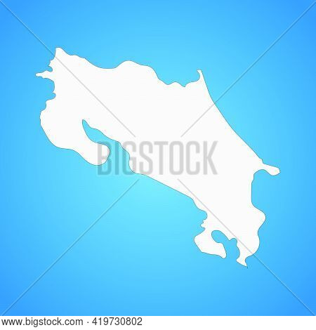 Highly Detailed Costa Rica Map With Borders Isolated On Background. Simple Flat Icon Illustration Fo