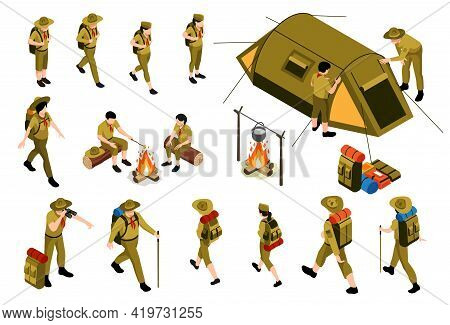 Hiking Isometric Set Of Camping Objects And People In Scout Uniform With Trekking Gear Isolated Vect
