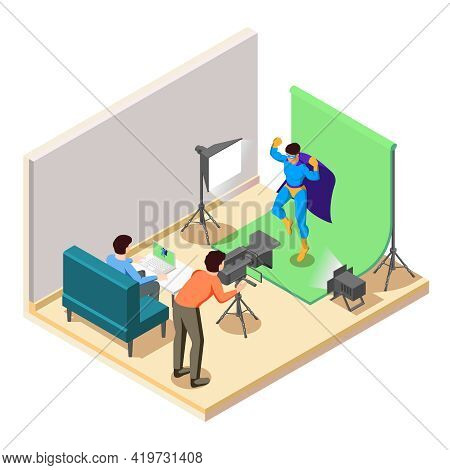 Superhero Movie Action Scene Shooting In Studio With Camera Operator Lighting Background Hero Charac