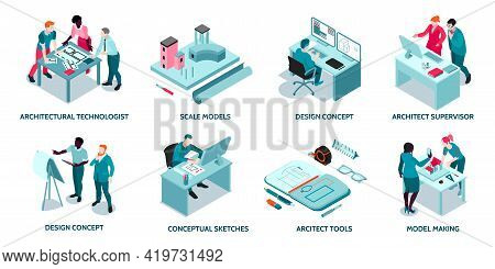 Architect Work Concept 8 Isometric Compositions With Project Sketches Design 3d Modeling Software Co