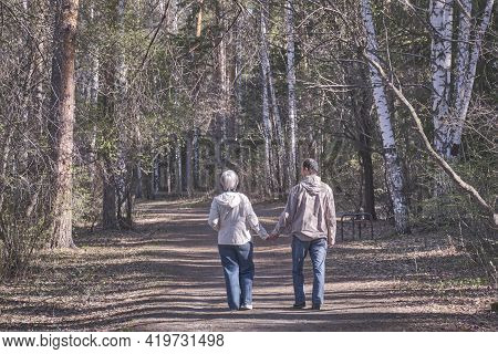 Elderly Interracial Couple In Casual Clothes Walking In A Spring Forest Park Holding Hands. View Fro
