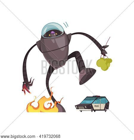 Evil Alien In Robot Machine Attacking People And City Cartoon Vector Illustration