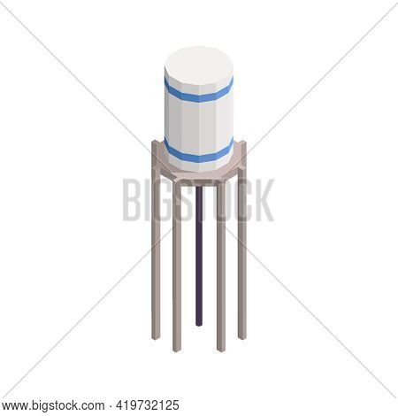 Water Reservoir Tower Isometric Icon On White Background 3d Vector Illustration