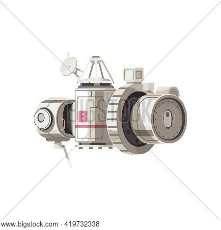 Space Station Cartoon Icon With Module Airlock Satellite Vector Illustration