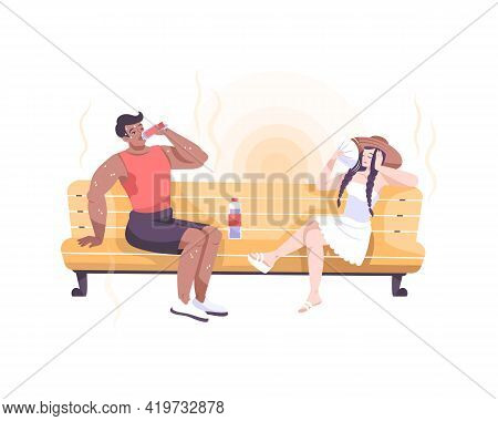 Weather Composition With Flat Characters Of Couple Sitting On Sofa Suffering From Heat Vector Illust