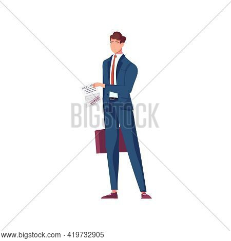 Migrant Workers Flat Composition With Character Of Male Specialist With Work Contract Vector Illustr