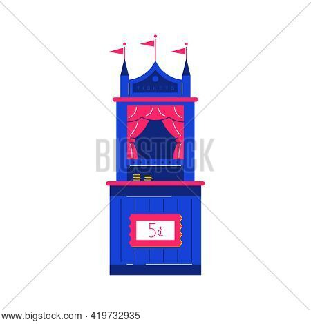 Circus Funfair Composition With Isolated Image Of Ticket Stall Vector Illustration