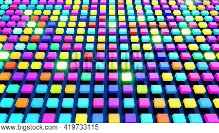 3d Render. Abstract Background With Cubes Lined Up In Rows On A Plane, Neon Lighting Of Cubes.