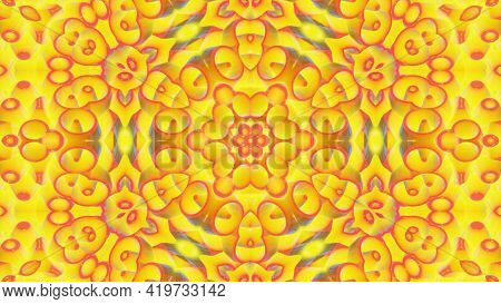 3d Render. Abstract Background Simmetrical 3d Liquid Pattern With Bright Gradient Color Transition.