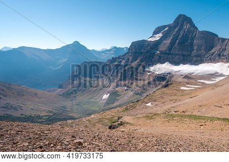 Matahpi Peak And Valley Below Viewed From Siyeh Pass Hiking Trail, Glacier National Park, Montana. S