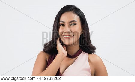 Sexy Business Woman Red Dress Posing In Studio White Background.