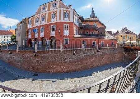 Sibiu, Transylvania, Romania-july 8, 2020: Luxembourg House, Built In The 13th Century On The First