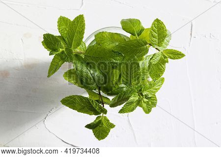 Bouquet Of Fresh Mint (peppermint) Branches And Leaves, Freshly Cut With Drops Of Water In A Glass.
