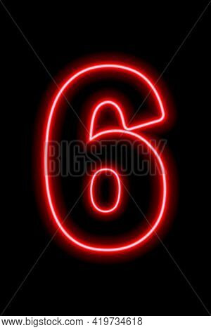 Neon Red Number 6 On Black Background. Learning Numbers, Serial Number, Price, Place. Vector Illustr