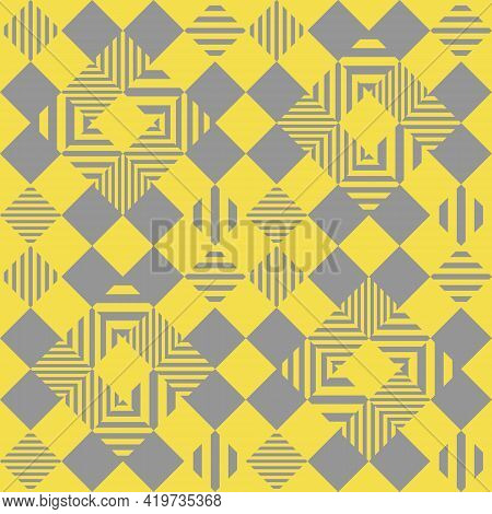 Checkered Pattern Seamless Abstract Background. Yellow Diamond Shape, Large And Small Gray Lines, Ve