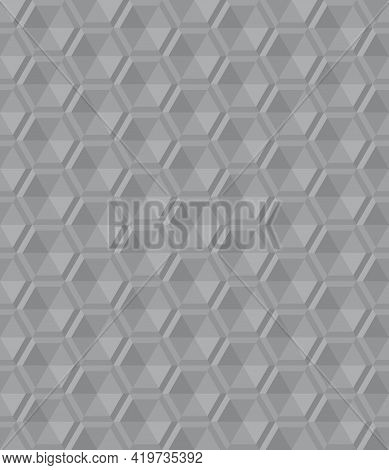 Seamless Abstract Gray Background Pattern. Triangle Are Arranged To Form 3d Hexagon. Texture Design