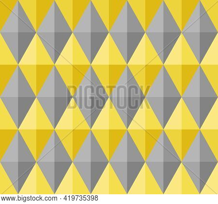 Seamless Abstract Background Pattern. 3d Diamond Shape, Yellow, Gray. Color Trend 2021. Textured Des