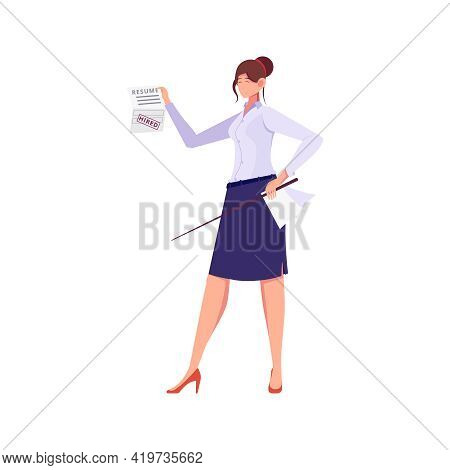 Migrant Workers Flat Composition With Character Of Female Teacher With Work Contract Vector Illustra