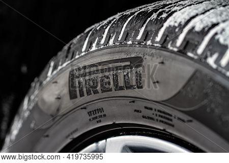 Moscow, Russia - February 23, 2021 Pirelli Tires Wheel Close Up View. Pirelli Scorpion Model Tire Lo
