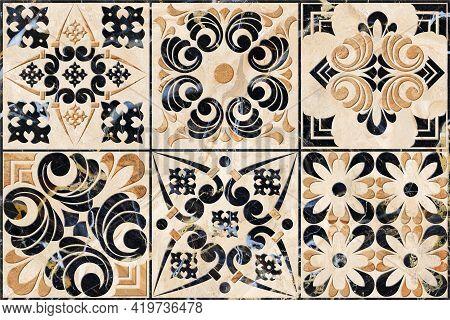 Digital Tiles Design. 3D Render Colorful Ceramic Wall Tiles Decoration.