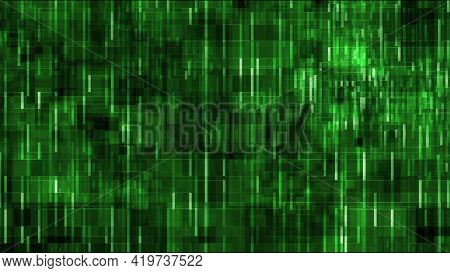 Many Green Vertical Lines Connecting On Abstract Creative Graphic Ultra High Resolution 3d Illustrat