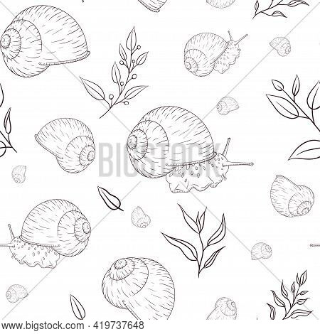 Hand Drawn Garden Snail With Floral Elements Engraved Seamless Pattern In Vintage Style. Sketch Styl