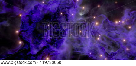 The galactic dust nebula and the birth of stars in the galaxy 3d render