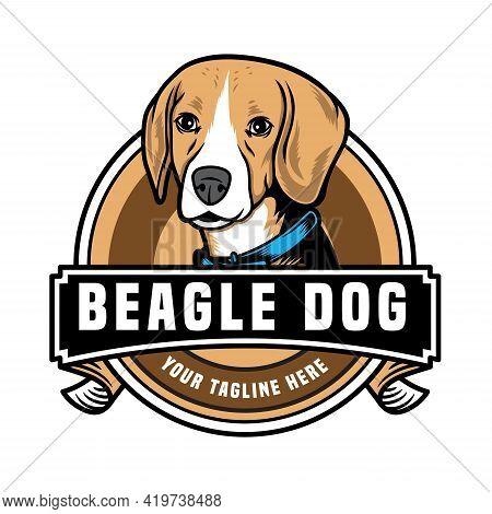 Cute Beagle Dog Pet Emblem Logo Vector Icon Illustration. Isolated On White Background. Suitable For