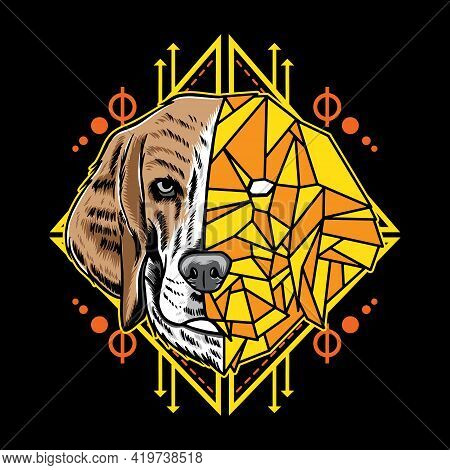 Cool Sacred Geometry Beagle Dog Pet Vector Illustration. Isolated On Black Background. Suitable For