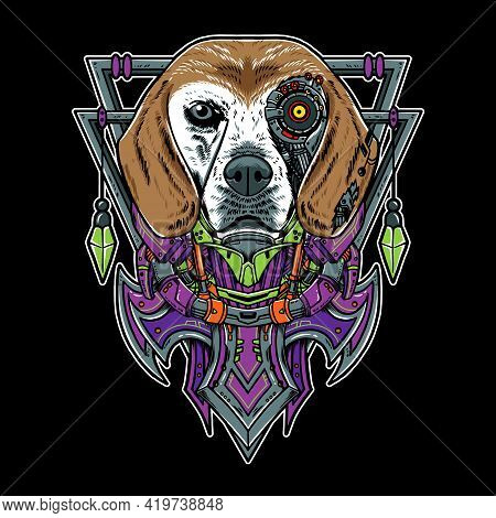Cool Beagle Dog Pet Vector Geometry Robotic Illustration. Isolated On Black Background. Suitable For