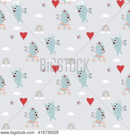 Seamless Pattern With Cute Monsters. A Pair Of Winged Monsters - A Girl Is Riding A Scooter With A B