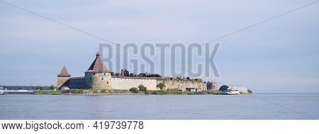 Saint-petersburg, Shlisselburg, Russia, 04 September 2020: Historical Fortress Oreshek Is An Ancient
