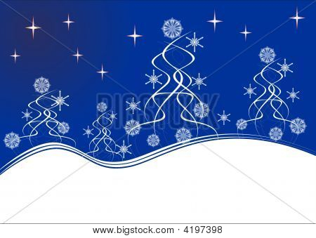 Winter Night. Horizontal Card