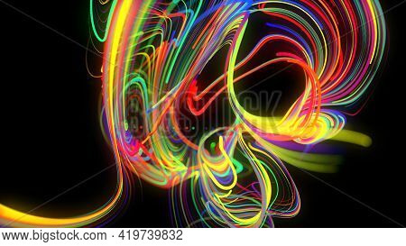 Abstract Background Glow Lines Or Light Streaks. Running Lights Particles Form In 3d Space Glowing B