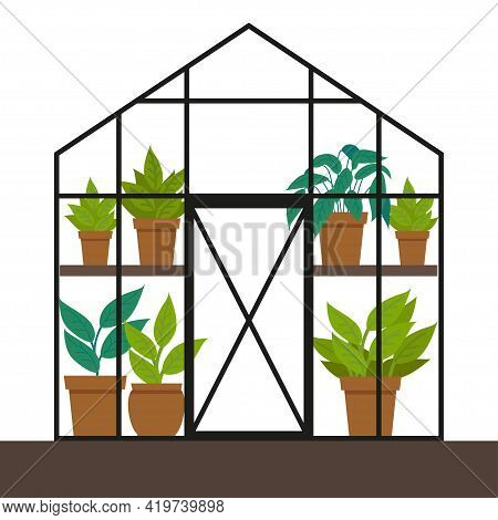 Vector Flat Illustration With A Greenhouse. Different Plants In The Greenhouse.