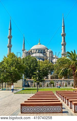 Blue Mosque In Istanbul On Sultanahmet Square. Istanbul, Turkey - 28.07.2017
