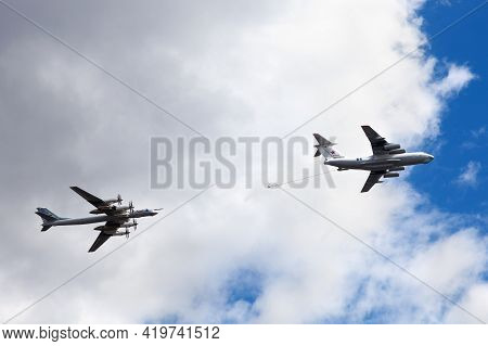 Moscow, Russia, May 7, 2021 - Air Tanker Ilyushin Il-78 Midas And Turboprop Powered Bomber Tu-95 Bea