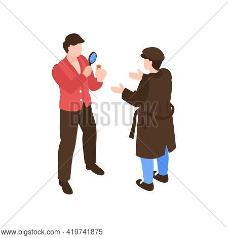 Pawn Shop Isometric Composition With Human Characters Of Client And Estimator With Magnifying Glass