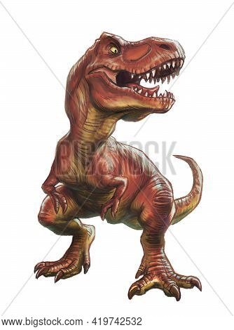 Dinosaur Rex Stands And Growls. Painted In Watercolor Style. Isolated On White Background.