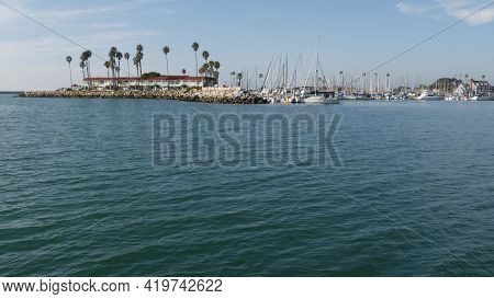 View Of Sea Water From Sailing Boat Or Yacht, Oceanside Harbor, Summer Vacations In California Usa.