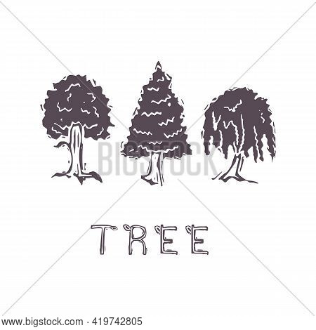 Hand Carved Bold Block Print Tree Text Icon Clip Art. Folk Illustration Design Element. Modern Boho