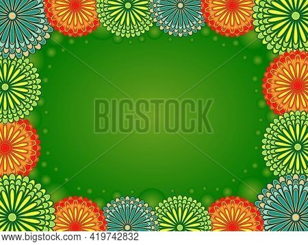 Romantic Postcard With Flowers And Circles In Green, Orange And Turquoise Hues