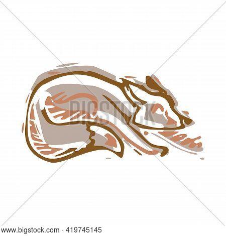 Naive Carved Fox Block Print Motif Icon. Cute Rustic Folk Silhouette Illustration Clipart. Decorativ